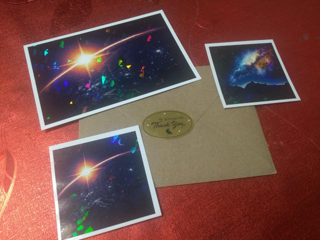 Postcard and stickers
